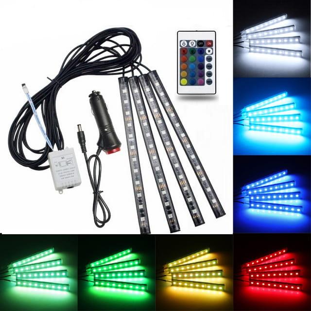 Oświetlenie LED ambient wnętrza auta RGB do zapalniczki